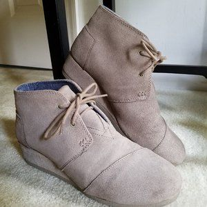 TOMS Desert Taupe Suede Women's Wedges - 8.5